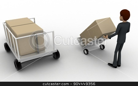 3d man pulling trolly loaded with boxes concept stock photo, 3d man pulling trolly loaded with boxes concept on white background, back angle view by 3dlabs