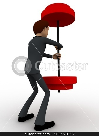3d man easily carry weights concept stock photo, 3d man easily carry weights concept on white background, back angle view by 3dlabs