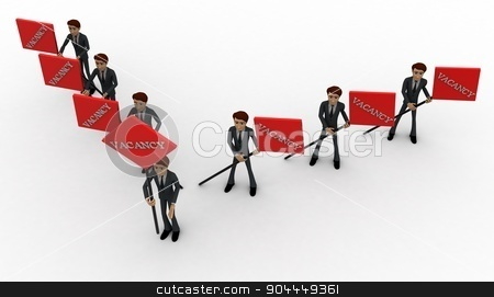 3d men with vacancy banner in hand concept stock photo, 3d men with vacancy banner in hand concept on white background, top angle view by 3dlabs