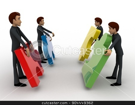 3d team of men with puzzle piece concept stock photo, 3d team of men with puzzle piece concept on white background, side angle view by 3dlabs
