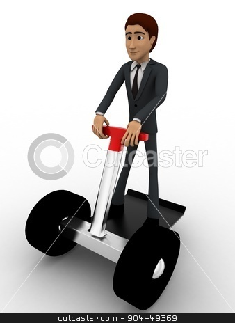 3d man drive scooter concept stock photo, 3d man drive scooter concept on white background, front angle view by 3dlabs