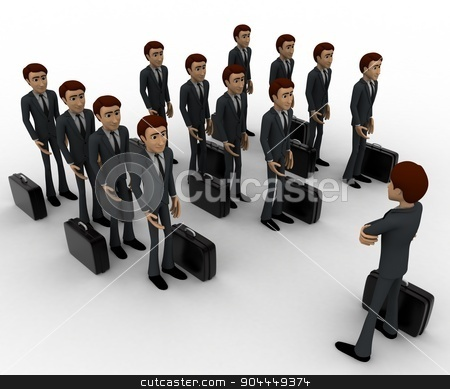 3d man addressing group of executives concept stock photo, 3d man addressing group of executives concept on white background, top angle view by 3dlabs