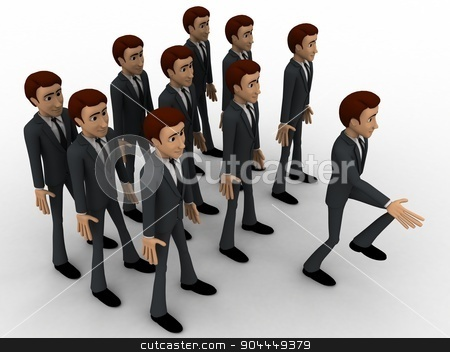 3d man marching concept stock photo, 3d man marching concept on white background, side angle view by 3dlabs