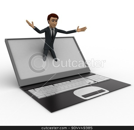 3d man popping out of laptop screen concept stock photo, 3d man popping out of laptop screen concept on white background, side angle view by 3dlabs
