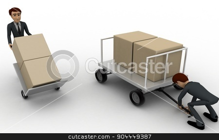 3d man pulling trolly loaded with boxes concept stock photo, 3d man pulling trolly loaded with boxes concept on white background, side angle view by 3dlabs