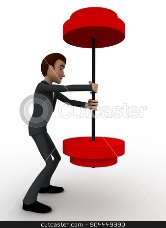 3d man easily carry weights concept stock photo, 3d man easily carry weights concept on white background, side angle view by 3dlabs