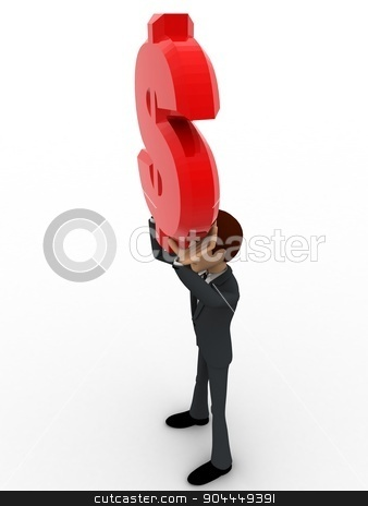 3d man holding red dollar sign in hand concept stock photo, 3d man holding red dollar sign in hand concept on white background, side angle view by 3dlabs