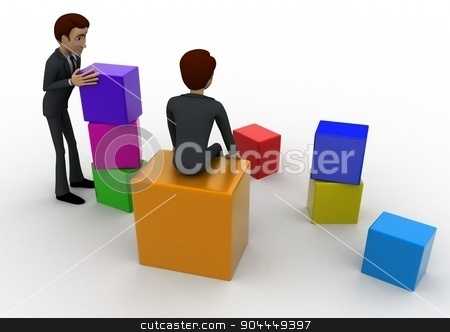 3d men with colourful blocks concept stock photo, 3d men with colourful blocks concept on white background,  back angle view by 3dlabs