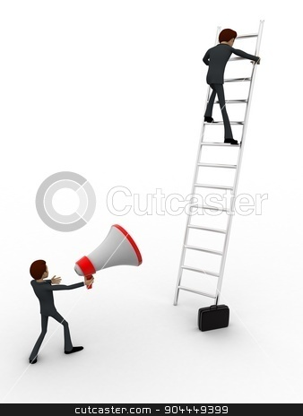 3d men climbing ladder and another announcing from mic concept stock photo, 3d men climbing ladder and another announcing from mic concept on white background, side angle view by 3dlabs