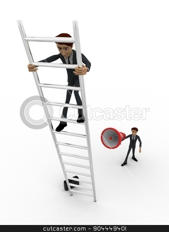 3d men climbing ladder and another announcing from mic concept stock photo, 3d men climbing ladder and another announcing from mic concept on white background, front angle view by 3dlabs