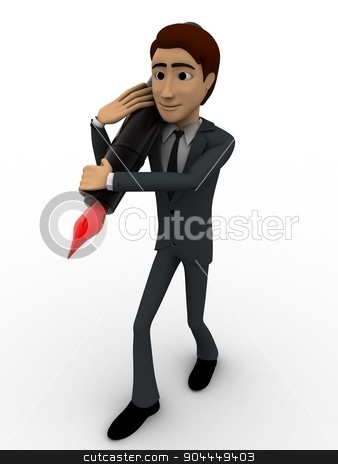 3d man carrying ink pen on shoulder with red knob concept stock photo, 3d man carrying ink pen on shoulder with red knob concept on white background, front angle view by 3dlabs