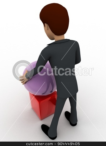 3d man put ball on cube concept stock photo, 3d man put ball on cube concept on white background, back angle view by 3dlabs