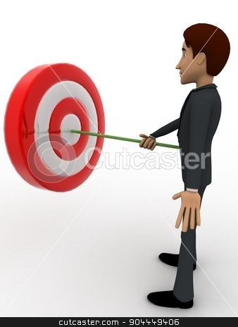 3d man putting dart on target board concept stock photo, 3d man putting dart on target board concept on white background, front angle view by 3dlabs