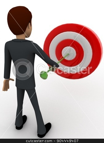 3d man putting dart on target board concept stock photo, 3d man putting dart on target board concept on white background, back angle view by 3dlabs