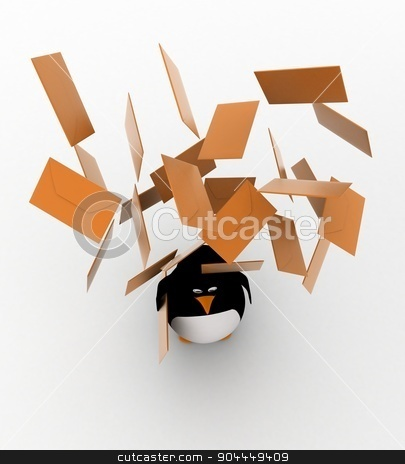 3d under rain of paper concept stock photo, 3d under rain of paper concept on white background, top angle view by 3dlabs