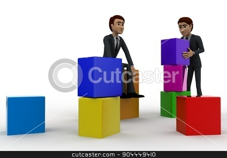 3d men with colourful blocks concept stock photo, 3d men with colourful blocks concept on white background,  front angle view by 3dlabs
