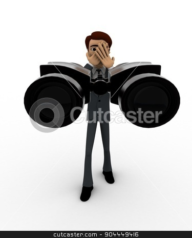 3d man standing with binoculars concept stock photo, 3d man standing with binoculars concept on white background, front angle view by 3dlabs