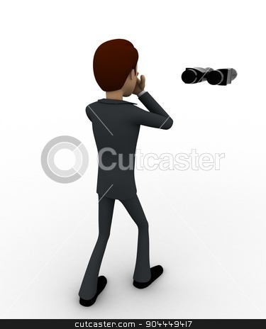 3d man standing with binoculars concept stock photo, 3d man standing with binoculars concept on white background,  back  angle view by 3dlabs
