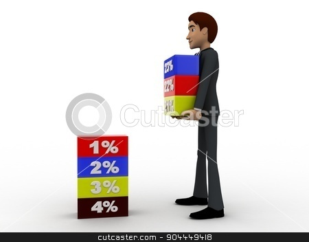 3d man holding cube of percentage concept stock photo, 3d man holding cube of percentage concept on white background, side angle view by 3dlabs