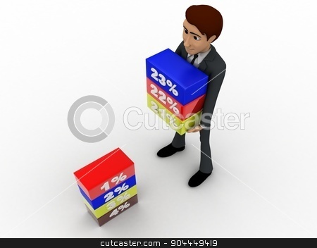 3d man holding cube of percentage concept stock photo, 3d man holding cube of percentage concept on white background, top angle view by 3dlabs