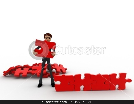 3d man creating wall with jigsaw puzzle pieces concept stock photo, 3d man creating wall with jigsaw puzzle pieces concept on white background, front angle view by 3dlabs