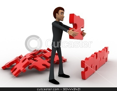 3d man creating wall with jigsaw puzzle pieces concept stock photo, 3d man creating wall with jigsaw puzzle pieces concept on white background, side angle view by 3dlabs