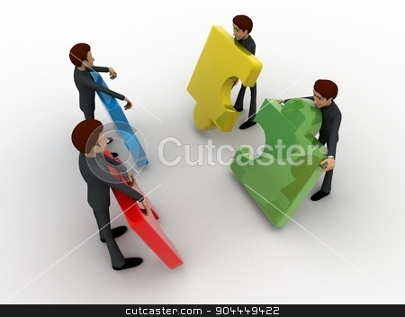 3d team of men with puzzle piece concept stock photo, 3d team of men with puzzle piece concept on white background, top angle view by 3dlabs