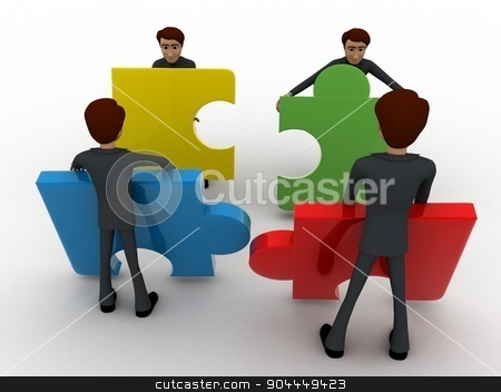 3d team of men with puzzle piece concept stock photo, 3d team of men with puzzle piece concept on white background, front angle view by 3dlabs
