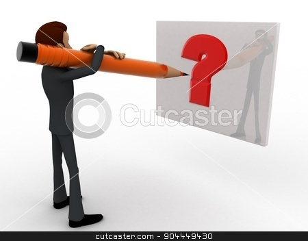 3d man writing question mark on paper with pencil concept stock photo, 3d man writing question mark on paper with pencil concept on white background,  side angle view by 3dlabs