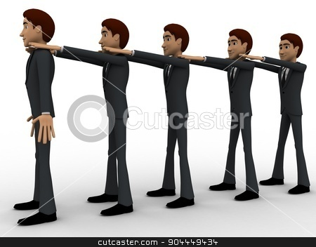 3d men in queue and hands on sholuder of another man concept stock photo, 3d men in queue and hands on sholuder of another man concept on white background, front angle view by 3dlabs