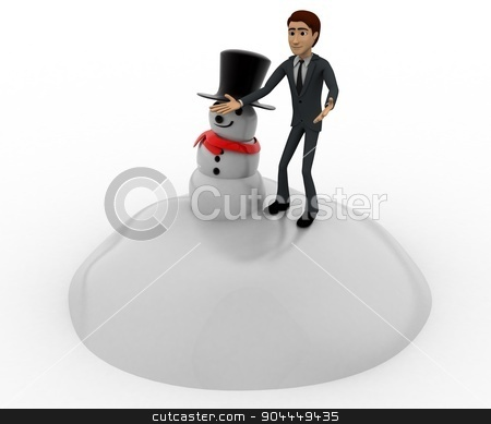3d man standing aside snowman concept stock photo, 3d man standing aside snowman concept on white background,  side angle view by 3dlabs