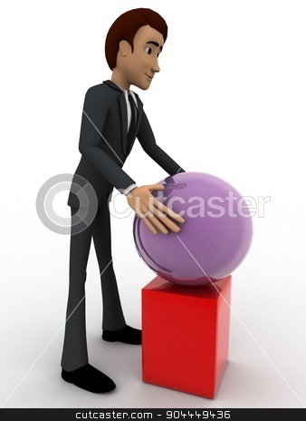 3d man put ball on cube concept stock photo, 3d man put ball on cube concept on white background, side angle view by 3dlabs
