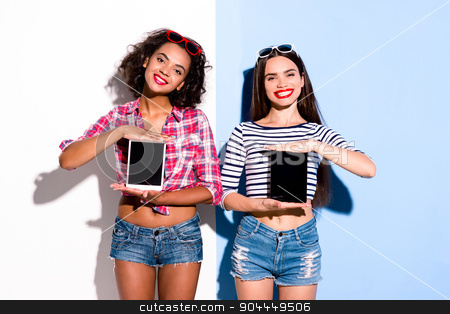 Funky couple. Creative concept of beautiful sexy girls.  stock photo, Colorful picture of beautiful slim young women on white and blue background. Girls cheerfully smiling and holding tablet computers by Dmytro Sidelnikov