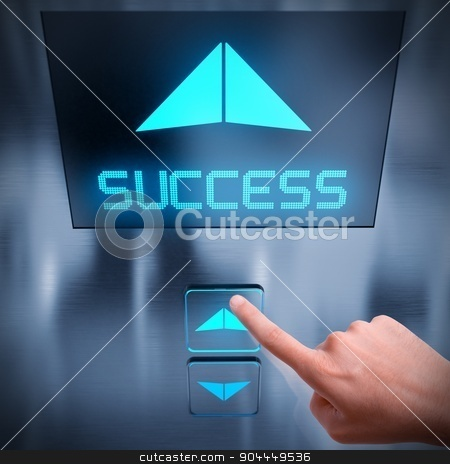 Success business elevator stock photo, Finger push a button of the elevator by Federico Caputo