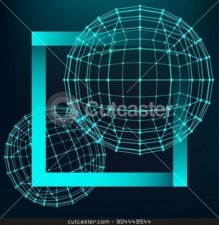 Mesh polygonal background. Scope of lines and dots. Ball of the lines connected to points. Molecular lattice. The structural grid of polygons.  stock vector clipart, Mesh polygonal background. Scope of lines and dots. Ball of the lines connected to points. Molecular lattice. The structural grid of polygons by Vladimir Khapaev
