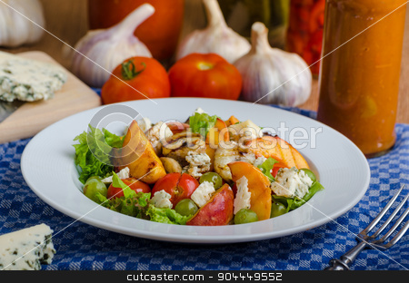 Grilled fruit with blue cheese and salad stock photo, Grilled fruit with blue cheese and salad, homemade ketchup with garlic by Peteer