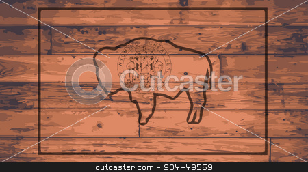 Wyoming Flag Brand stock vector clipart, Wyoming State Flag branded onto wooden planks by Kotto