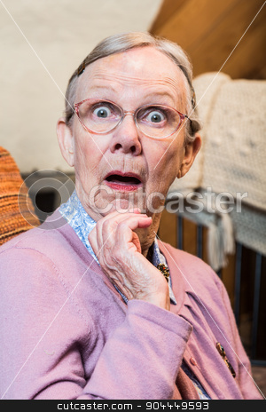 Surprised Old Woman stock photo, Surprised old matron woman looking at camera by Scott Griessel