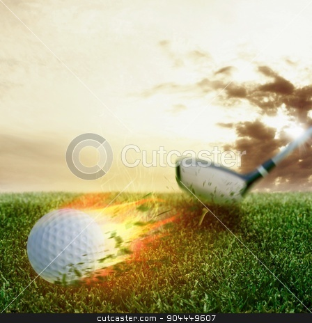 Golf fireball stock photo, Fire ball hit by a golf club by Federico Caputo