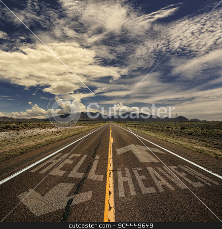 Two Way Road to Heaven and Hell stock photo, Conceptual image of two way road with arrows to heaven and hell by Scott Griessel