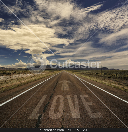 Conceptual Image of Road with the Word Love stock photo, Conceptual image of desert road with the word love and arrow by Scott Griessel