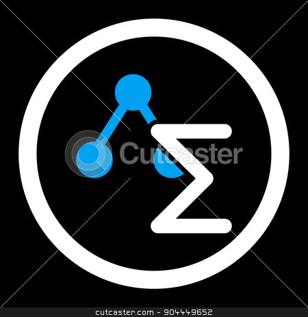 Analysis icon stock photo, Analysis raster icon. This flat rounded symbol uses blue and white colors and isolated on a black background. by ahasoft