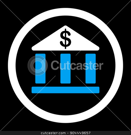 Bank icon stock photo, Bank raster icon. This flat rounded symbol uses blue and white colors and isolated on a black background. by ahasoft