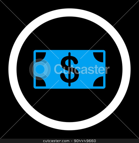Banknote icon stock photo, Banknote raster icon. This flat rounded symbol uses blue and white colors and isolated on a black background. by ahasoft