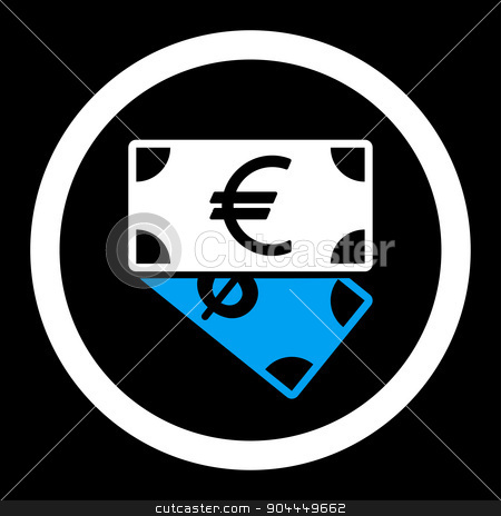 Banknotes icon stock photo, Banknotes raster icon. This flat rounded symbol uses blue and white colors and isolated on a black background. by ahasoft