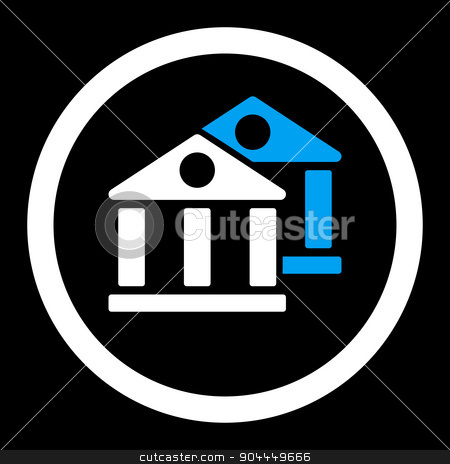 Banks icon stock photo, Banks raster icon. This flat rounded symbol uses blue and white colors and isolated on a black background. by ahasoft