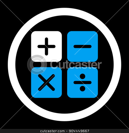 Calculator icon stock photo, Calculator raster icon. This flat rounded symbol uses blue and white colors and isolated on a black background. by ahasoft