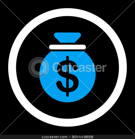 Capital icon stock photo, Capital raster icon. This flat rounded symbol uses blue and white colors and isolated on a black background. by ahasoft
