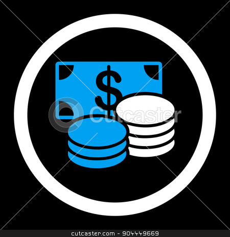 Cash icon stock photo, Cash raster icon. This flat rounded symbol uses blue and white colors and isolated on a black background. by ahasoft