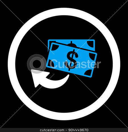 Cashback icon stock photo, Cashback raster icon. This flat rounded symbol uses blue and white colors and isolated on a black background. by ahasoft